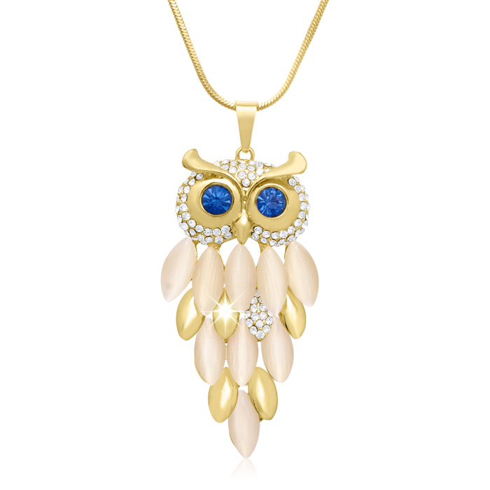 18K Gold Overlay Crystal Owl Necklace, 28 Inches