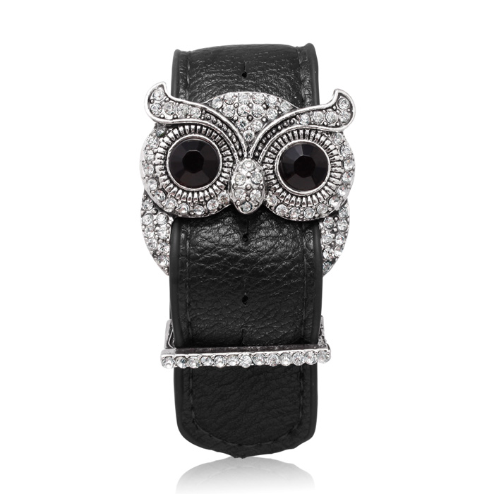 Black Leather and Crystal Owl Cuff Bracelet