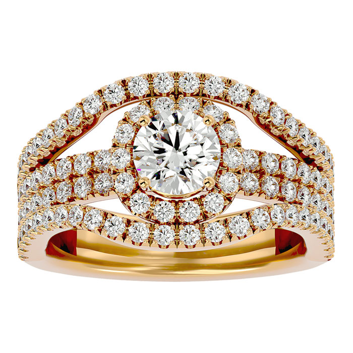 2ct Halo Diamond Engagement Ring Crafted in 14 Karat Yellow Gold