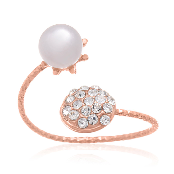 Pearl and Pave Crystal Bangle Ring In Rose Gold Oerlay