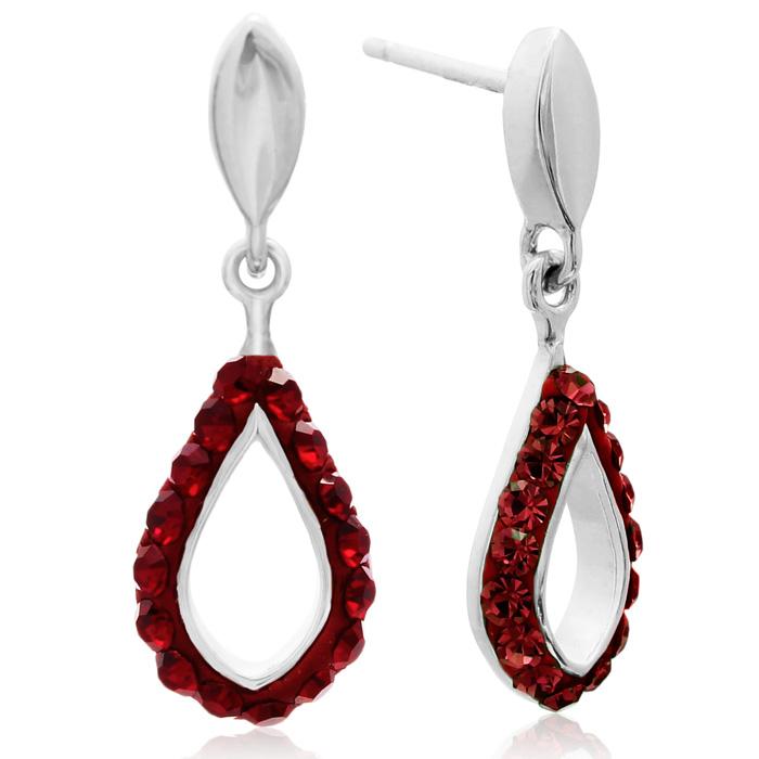 Ruby Swarovski Elements Crystal Drop Earrings In Sterling Silver, 3/4 Inch
