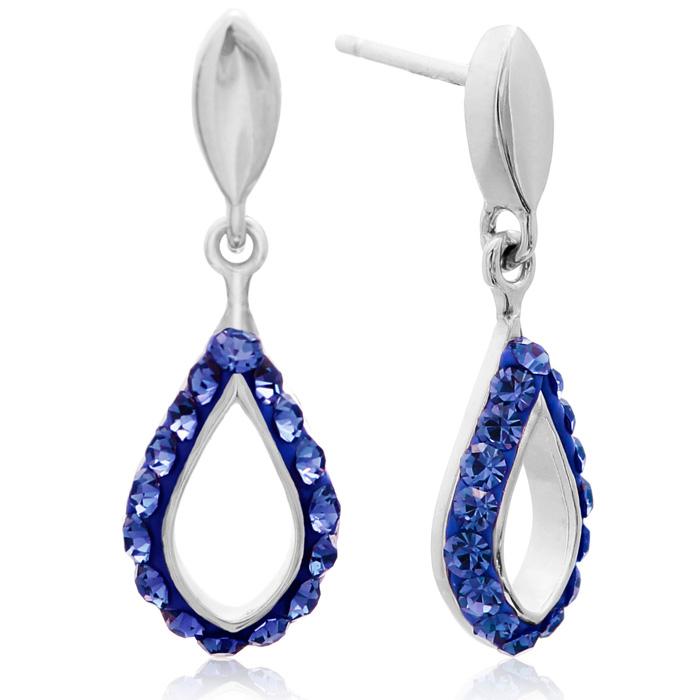 Sapphire Swarovski Elements Crystal Drop Earrings In Sterling Silver, 3/4 Inch
