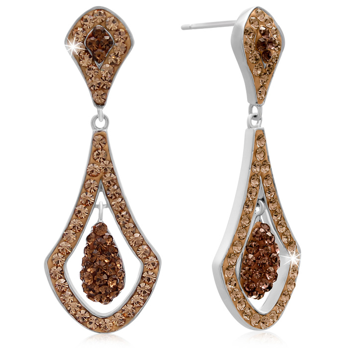 Elegant Champagne Swarovski Elements Crystal Drop Earrings, 1 1/2 Inches
