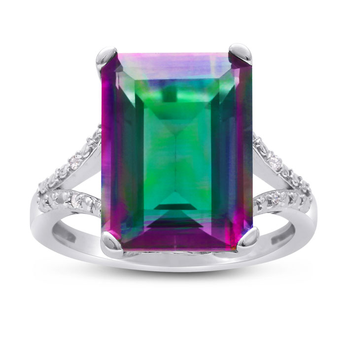 10ct Emerald Shape Mystic Topaz And Diamond Ring In Sterling Silver
