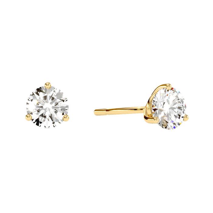 1ct Natural Genuine Diamond Stud Earrings In Martini Setting, 14 Karat Yellow Gold 16403