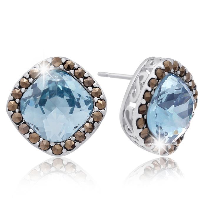 marcassite.com 4ct Crystal Aquamarine and Marcasite Earrings