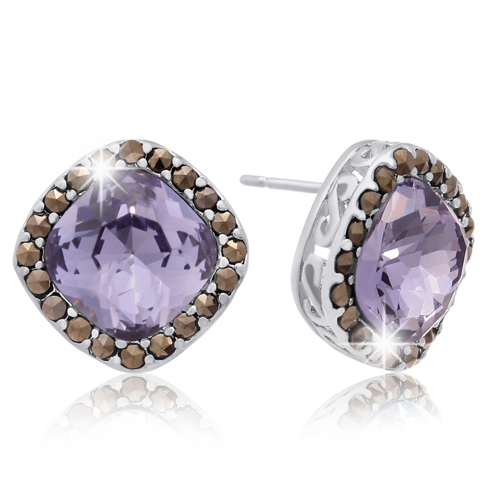 4ct Crystal Tanzanite and Marcasite Earrings