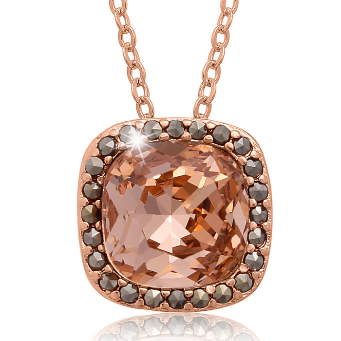 4ct Crystal Morganite and Marcasite Necklace