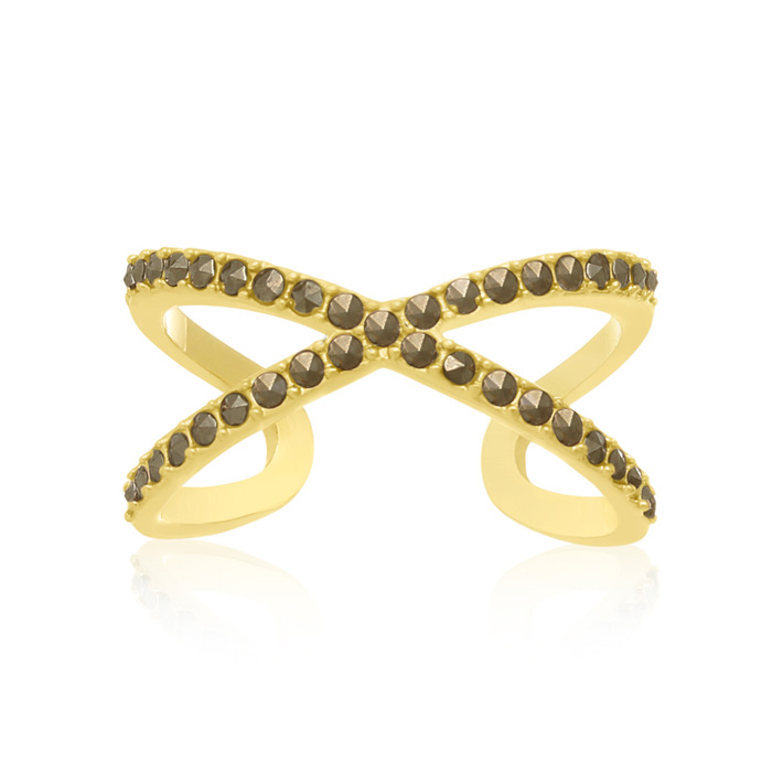 Yellow Gold Marcasite X Ring