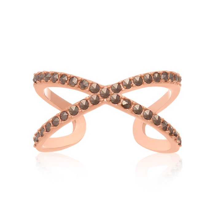 Rose Gold Marcasite X Ring