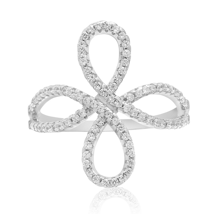 Sterling Silver Cubic Zirconia Filigree Love Knot Ring thumbnail