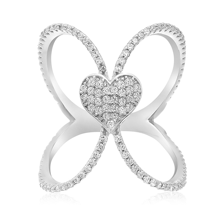 Sterling Silver Cubic Zirconia Open Shank Heart Ring
