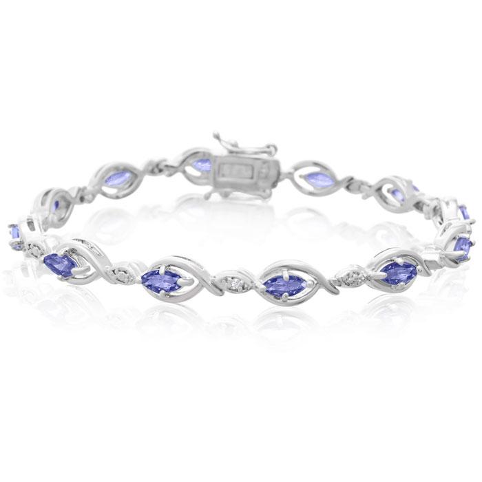 2.65 Carat Tanzanite and Diamond Bracelet
