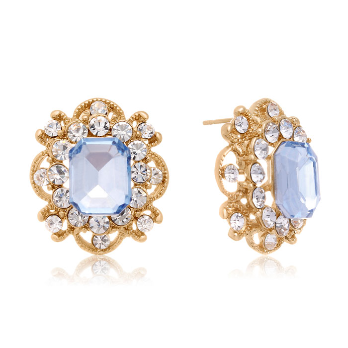 Blooming Swarovski Elements Aquamarine Stud Earrings, Gold Overlay, Pushbacks