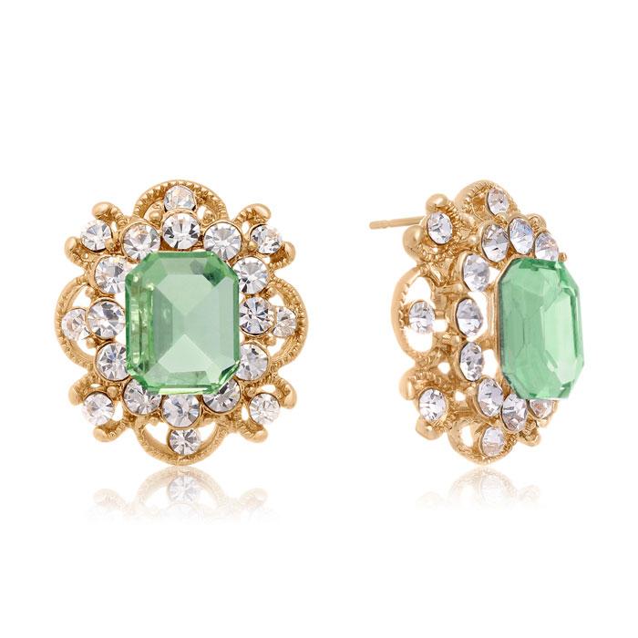 Blooming Swarovski Elements Peridot Stud Earrings, Gold Overlay, Pushbacks