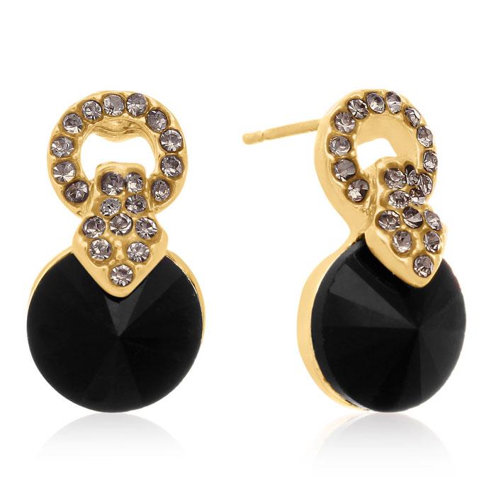 Black Onyx Swarovski Elements Stud Earrings, Gold Overlay, Pushbacks