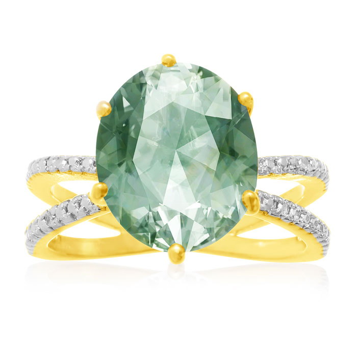 4 1/2 Carat Oval Shape Green Amethyst and Diamond Ring, Gold Overlay