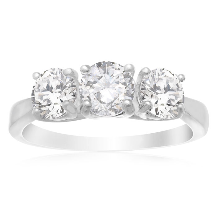 1 1/2 Carat Three Stone Cubic Zirconia Ring, Platinum Overlay