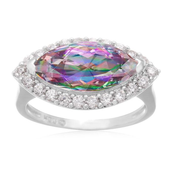 4 Carat Marquise Shape Mystic Topaz and Cubic Zirconia Ring, Platinum Overlay