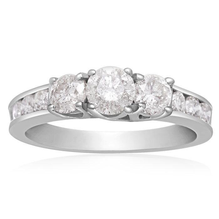 1 Carat Three Stone Plus Diamond Engagement Ring In White Gold thumbnail