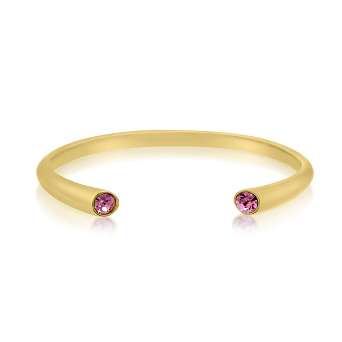 Pink Crystal Bangle Bracelet in Gold Overlay