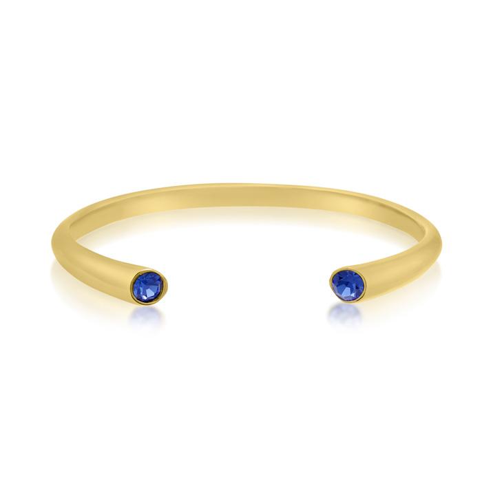 Blue Crystal Bangle Bracelet in Gold Overlay