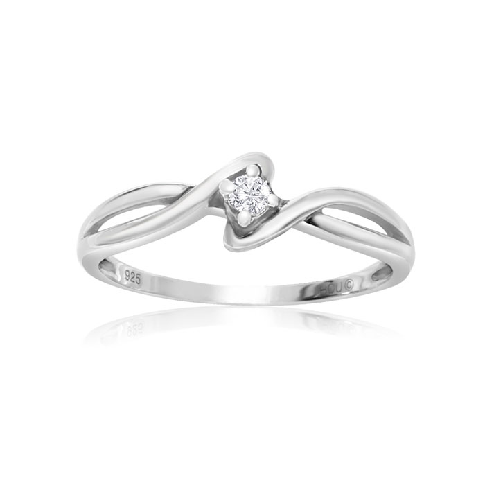1/10ct Twist Diamond Promise Ring in Sterling Silver