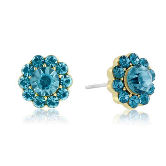 Passiana Mini Flower Crystal Turquoise Earrings