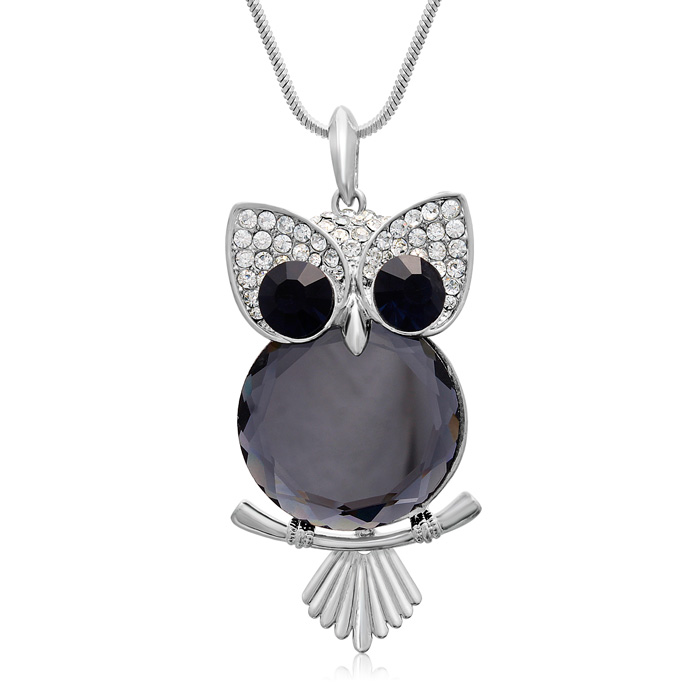 Blue Sapphire and Clear Crystal Owl Necklace, 18 Inches