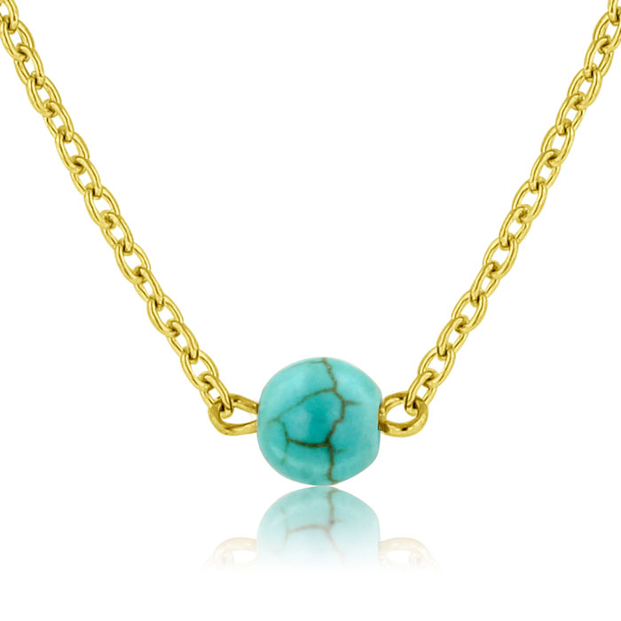 Turquoise Bead Necklace - With FREE Onyx Bead Necklace!