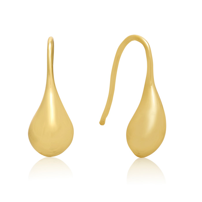 24KT Hand Overlayed Eco-Brass Teardrop Earrings
