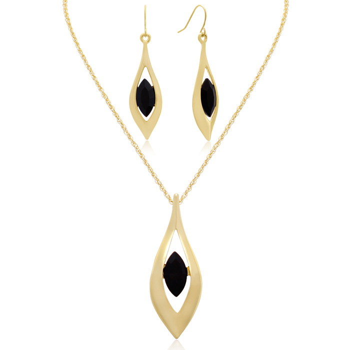 Crystal Black Onyx Marquise Drop Necklace With Free Matching Earrings