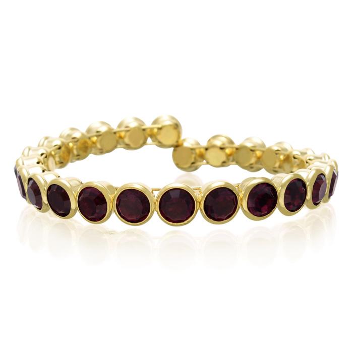10 Carat Crystal Amethyst Bezel Set Bangle, Gold Overlay