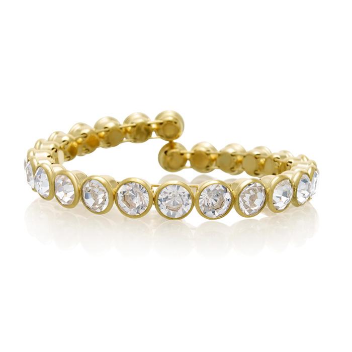 10 Carat Crystal Bezel Set Bangle, Gold Overlay