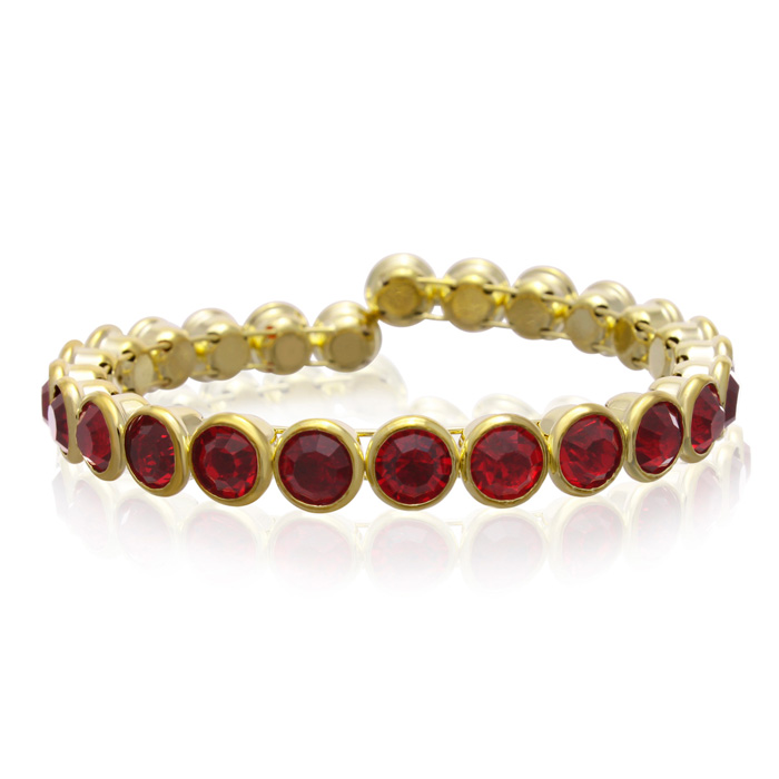 10 Carat Crystal Ruby Bezel Set Bangle, Gold Overlay