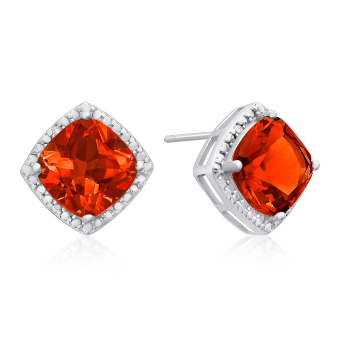 3.75ct Cushion Cut Created Padparadscha Sapphire Earrings