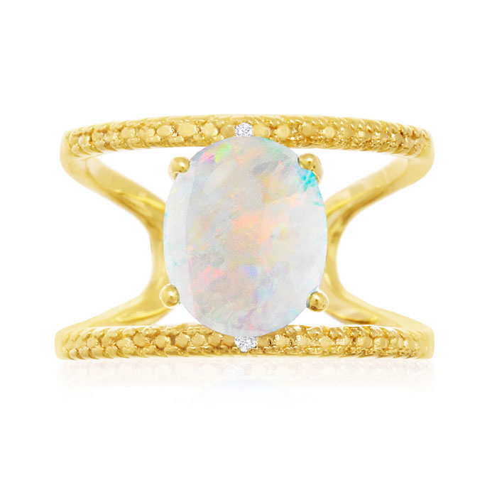 3 Carat Opal and Diamond Open Shank Ring In 14 Karat Yellow Gold Over Sterli..