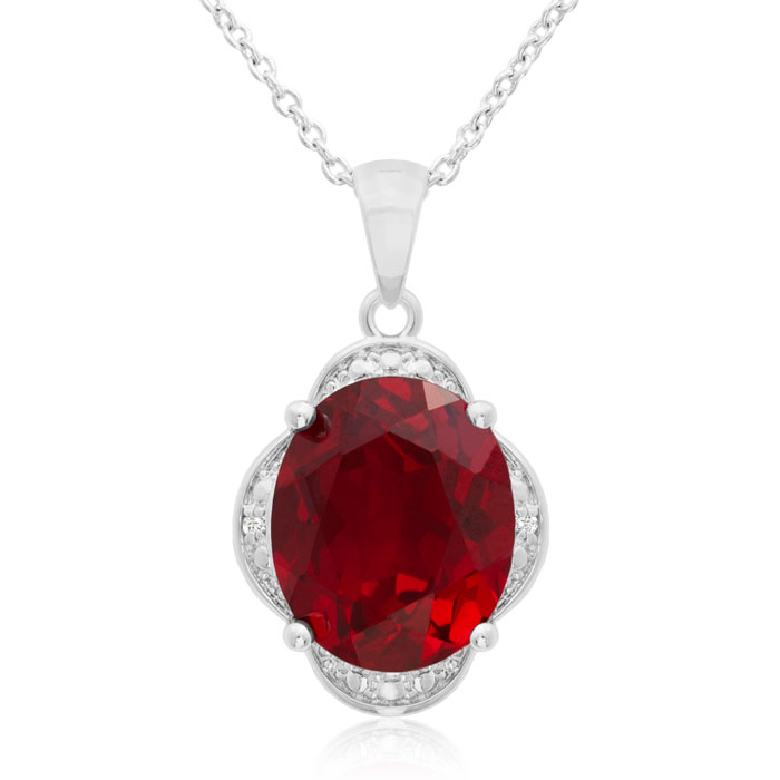 4ct Created Ruby and Diamond Necklace