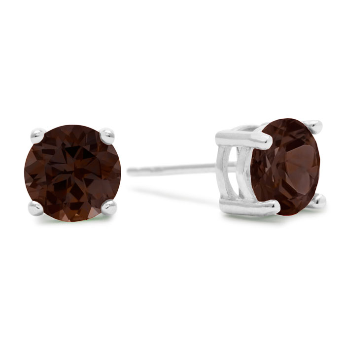 2 Carat Round Smoky Quartz Earrings In Sterling Silver