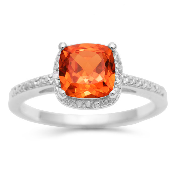 1.75ct Cushion Cut Created Padparadscha Sapphire Ring