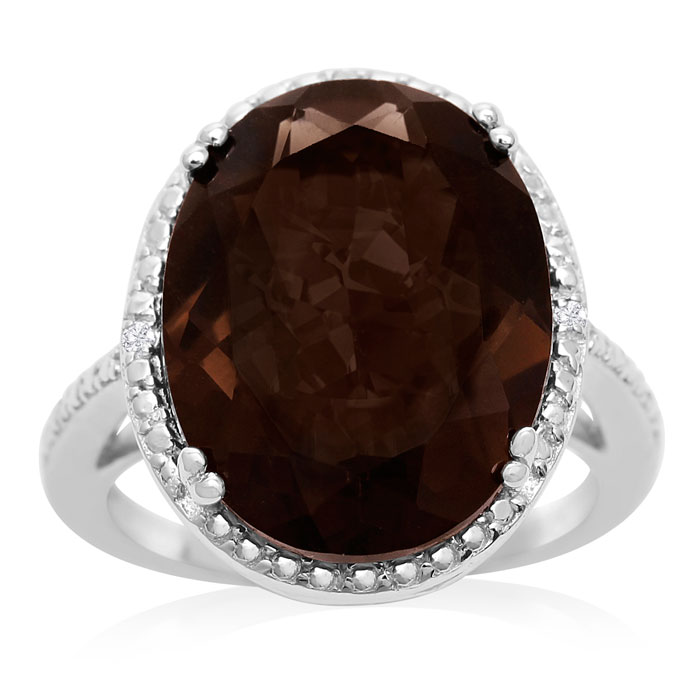 8 Carat Oval Shape Smoky Quartz and Diamond Ring In Sterling Silver