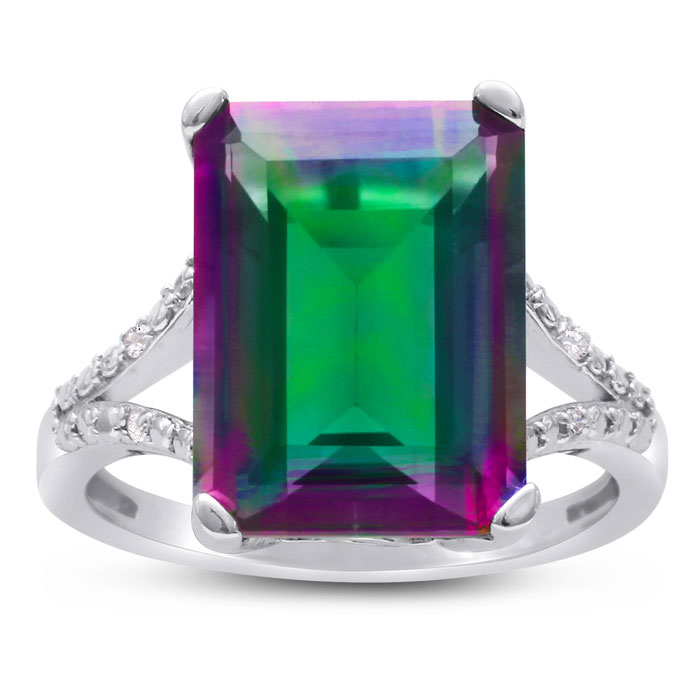 10ct Mystic Topaz and Diamond Ring