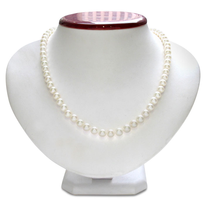 7mm A Hand Knotted Pearl Necklace, Sterling Silver Clasp