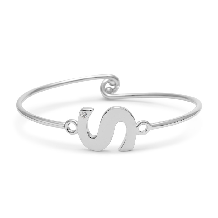 """S"" Initial Bangle Bracelet With Cubic Zirconia Accent"