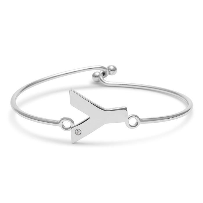 "Y"" Initial Bangle Bracelet With Cubic Zirconia Accent"