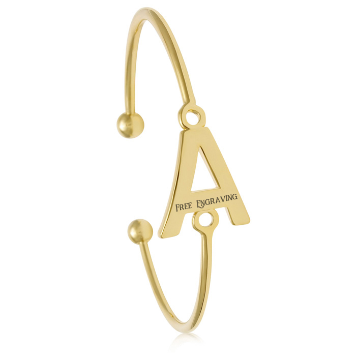 """A"" Initial Bangle Bracelet In Yellow Gold, Available in all 26 Le.."
