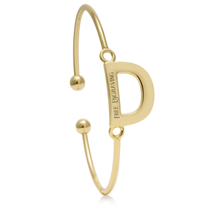 """D"" Initial Bangle Bracelet In Yellow Gold"