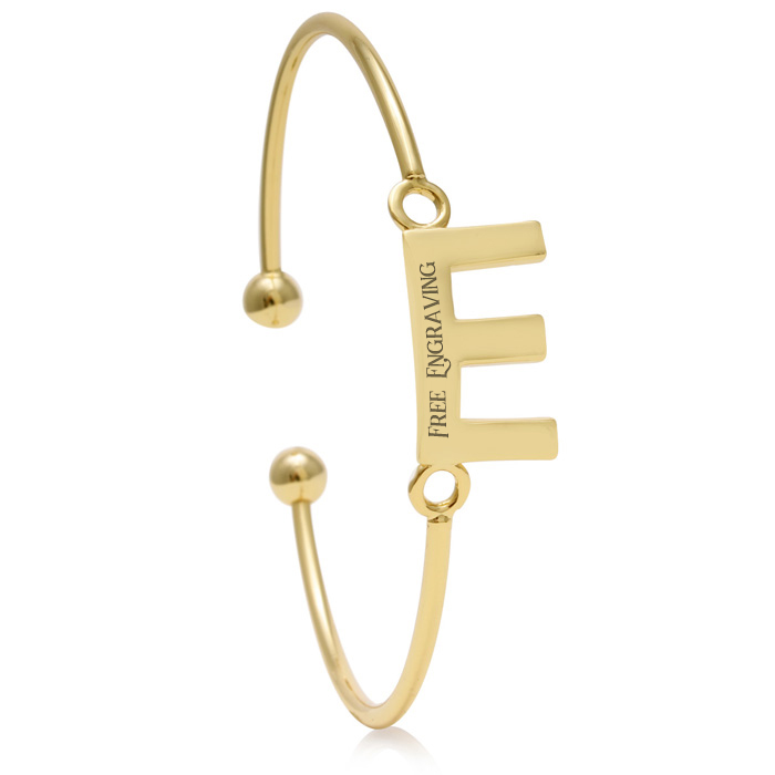 """E"" Initial Bangle Bracelet In Yellow Gold"