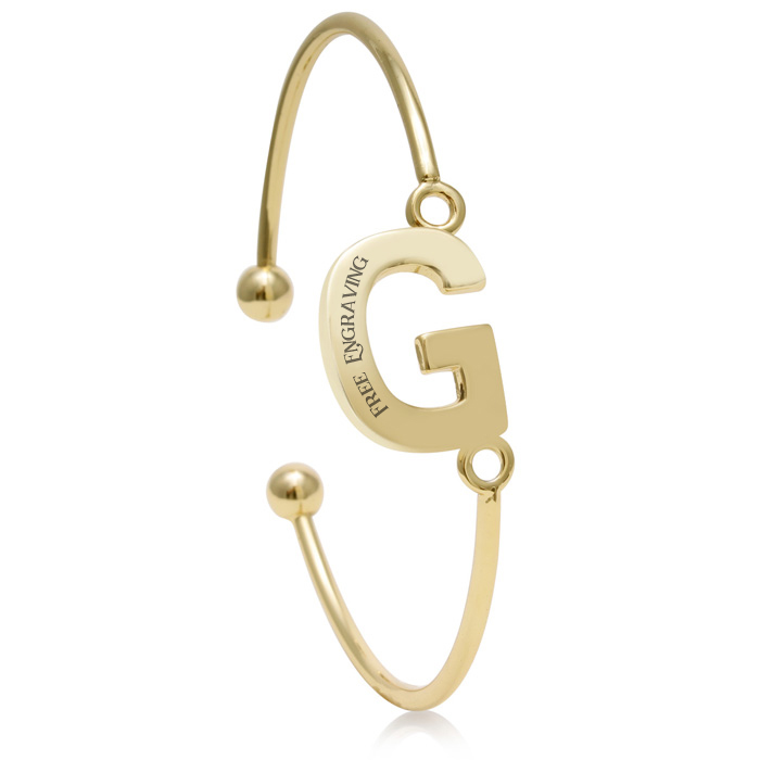 """G"" Initial Bangle Bracelet In Yellow Gold"