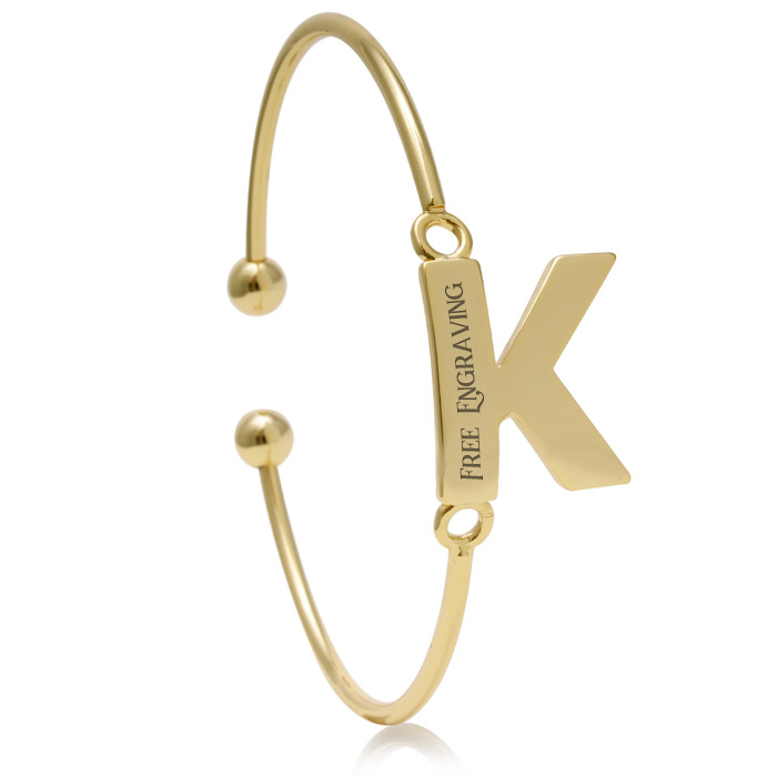 """K"" Initial Bangle Bracelet In Yellow Gold"